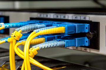 Fiber Optic on network core switch close up