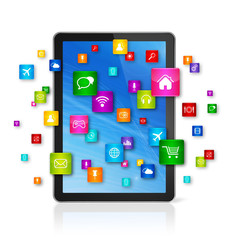 Digital Tablet pc and flying apps icons
