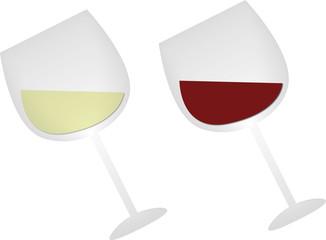 Illustrazione di due calici di vino bianco e rosso