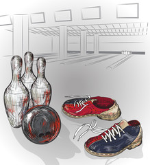 bowling shoes and bowling ball ready to hit pins