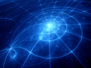 Blue glowing planetary system trajectories
