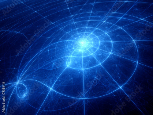 Poster Blue glowing planetary system trajectories
