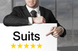 businessman pointing on sign suits five stars