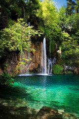 Summer view of beautiful waterfalls in Plitvice Lakes National P