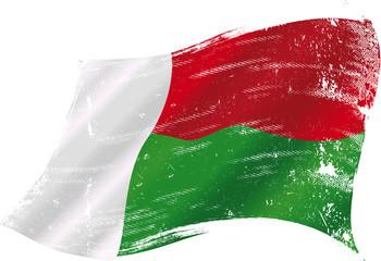 Malagasy grunge flag