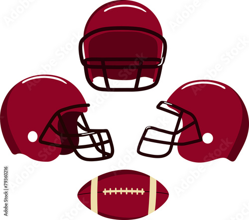 American football helmets and ball.  Vector illustration - 79360216