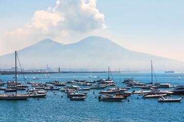 Many yachts near the volcano Vesuvius