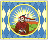 Luther as Junker Jörg at the Wartburg Castle (stained glass)