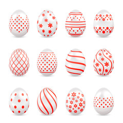 Decorative Easter eggs with red patterns