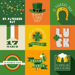 Happy St Patricks day label illustration