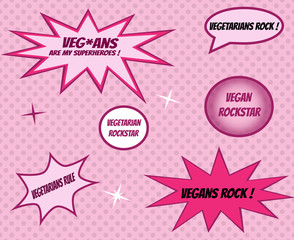 Vegans and vegetarians retro style comics icons