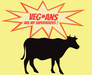 Retro silhouette of cow with comics icons with vegetarian slogan