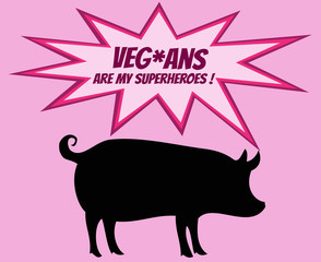 Retro silhouette of pig with comics icons with vegetarian slogan
