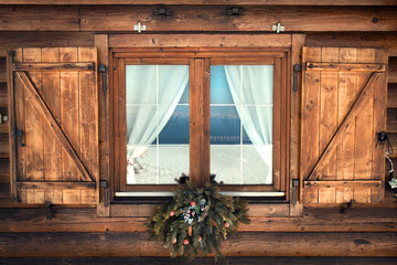 Tipical Rustic Window chalet mountain