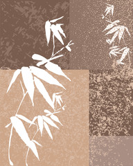 Zen bamboo vintage illustration background