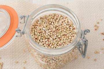 uroasted  buckwheat groats in a glass jar