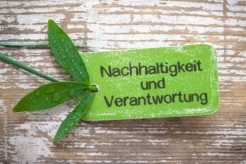 Leinwanddruck Bild Nachhaltigkeit und Verantwortung - Label