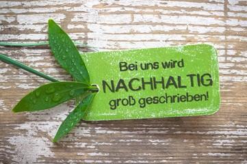 Nachhaltig - Leitspruch, Plakette, grün