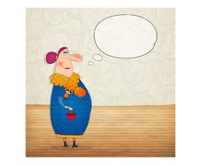 Cartton character with speech bubble