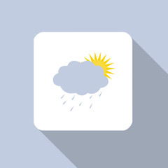 Sun and cloud with raindrops icon