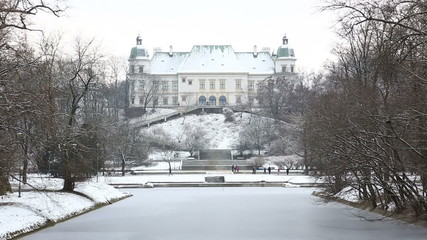 Ujazdow Castle in winter time, Warsaw