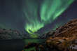 Incredible Aurora Borealis over night sky in Arctic