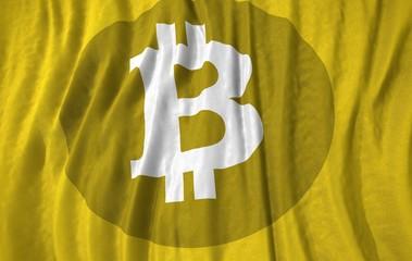 Bitcoin symbol corrugated realistic flag 3d illustration
