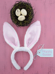 Easter bunny ears on pink wood background.