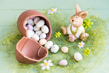 Easter rabbit with candy-eggs.