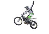Freestyle stunt rider isolated on white.