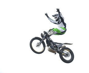 Freestyle stunt rider isolated on white.