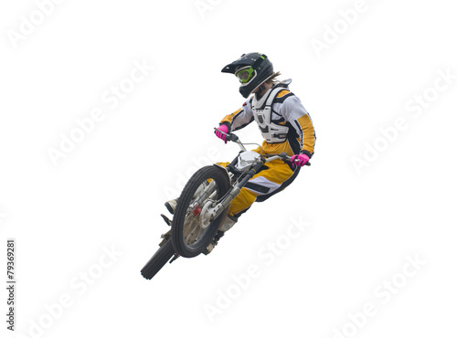 Foto op Plexiglas Motorsport Freestyle stunt rider isolated on white.