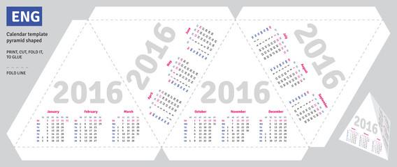 Template english calendar 2016 pyramid shaped