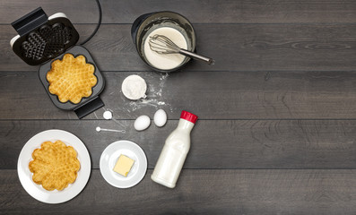 Ingredients and preparation of waffles.