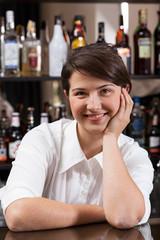Female bartender at work