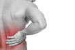 Leinwanddruck Bild - Young man holding his back in pain, isolated on white background