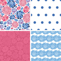 Vector Mosaic Flowers Set of Four Matching Repeat Patterns