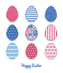 Vector mosaic flowers set of nine colorful Easter eggs card