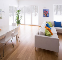 White interior with color elements