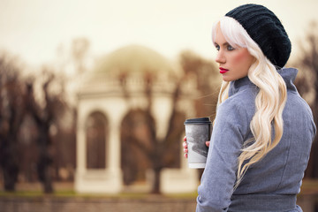 Beautiful blonde woman with coffee