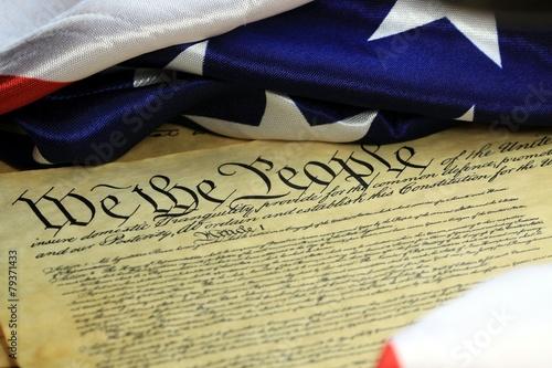 Leinwandbild Motiv United States Bill of Rights Preamble to the Constitution
