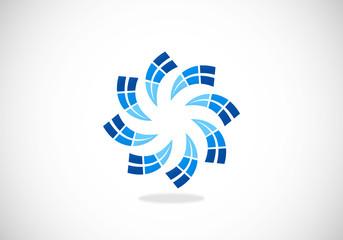 circular geometry movement abstract vector logo
