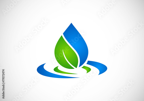 eco leaf water drop vector logo - 79372474