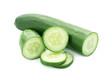 Cucumber and slices isolated over white background - 79372833