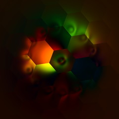 Weird Artistic Colorfully Backlit Hexagons. Illustration.