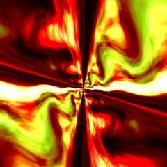 Infinite Digital Fractal. Red Green Colored Illustration.