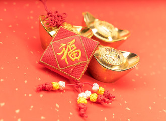 Traditional chinese knot on red background