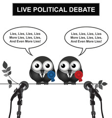 Monochrome comical live political debate