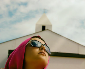 Girl With Church In Background