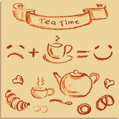 tea time , beautiful hand drawn illustration, Vector.